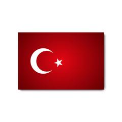 Flag Turkey with shadow on blank background