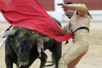 Spanish bullfighter Liria performs pass during bullfight in Gijon