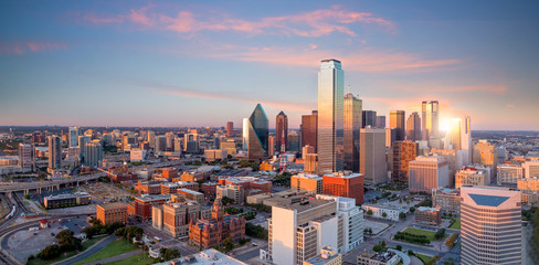 Autocollant pour porte Texas Dallas, Texas cityscape with blue sky at sunset