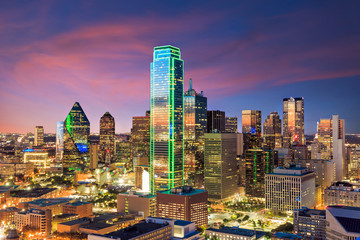 Dallas, Texas cityscape with blue sky Wall mural