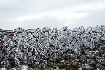 Frozen rocks due to cold temperature and wind, Zao, Japan