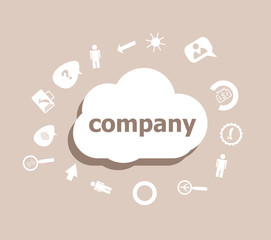 Text Company. Business concept . Icons set for cloud computing for web and app