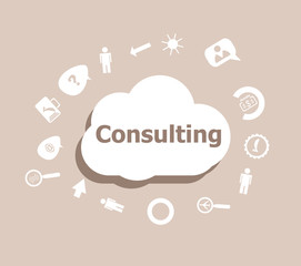 Text Consulting. Business concept . Icons set for cloud computing for web and app