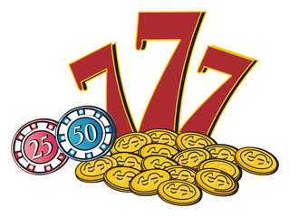 Las vegas, casino, America, USA, illustration, cartoon, nevada, money, city, symbol, city, poker, city of sins, fabulous, 777, chips, money,