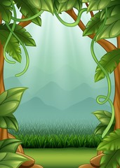Jungle background with vines and mountains