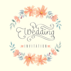 Wedding invitation hand lettering with flowers. Vector illustration