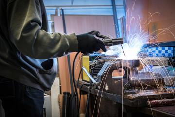 Industrial welder working