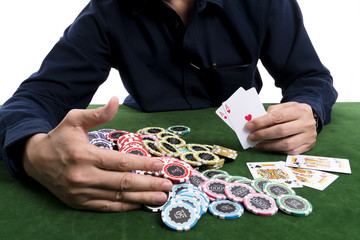 The winning poker card gather a pile of chips