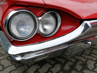headlights of american classic car