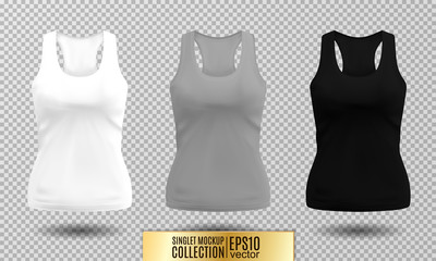2e8a3cc522086 Vector illustration of fitness tank top for women. Realistic illustration  sport wear. Realistic vector