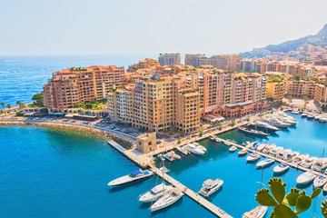 Beautiful view of Monte Carlo harbour in Monaco.