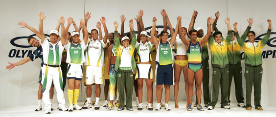 Brazilian athletes display the new national uniform for the Pan American Games Rio 2007