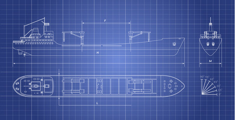 Blueprint of cargo ship on a white background. Top, side and front view. Container transport