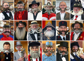 Combination of pictures shows 18 participants during the international German beard championships in Schoemberg