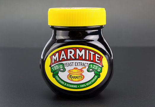 QUEENSTOWN, SOUTH AFRICA - 27 April 2017: Marmite yeast extract spread for bread or toast