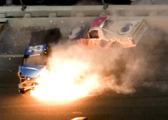 Fire breaks out during crash in Craftsman truck series race in Daytona