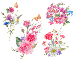 Watercolor set of vintage bouquet of garden flowers