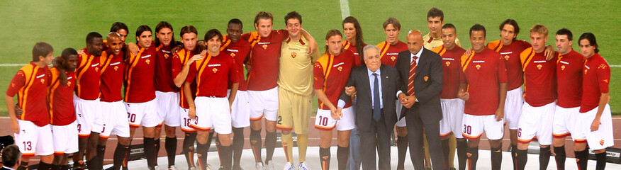 AS Roma's players pose before friendly match in Rome.