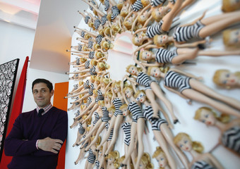 Jonathan Adler poses next to his design at the Barbie real-life Malibu Dream House in Malibu