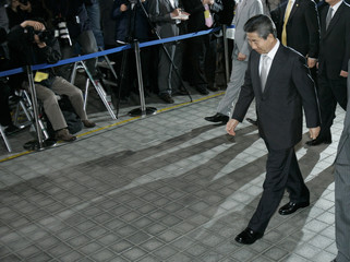 Former South Korean President Roh leaves after his interrogation at the Supreme Public Prosecutor's Office in Seoul