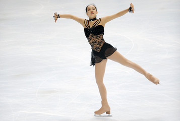 Japan's skater Mao Asada performs during the women's free skating programme at the Bompard Trophy event at Bercy in Paris