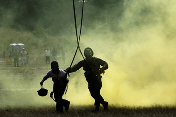 Members of the Honudras Army take part in a training exercise in Tegucigalpa