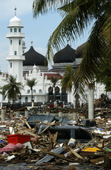 A scene of the damage in front of the Baiturrahman Mosque that was caused by a tsunami that hit ...