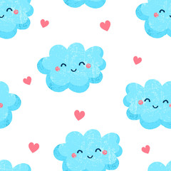 Seamless pattern with cute clouds and hearts. Ornament for children's textiles. Flat style. Vector.
