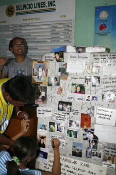 Relatives of passengers feared trapped inside Princess of the Stars post pictures of their loved ones as they wait for latest news inside Sulpicio Lines terminal in the port area of Manila