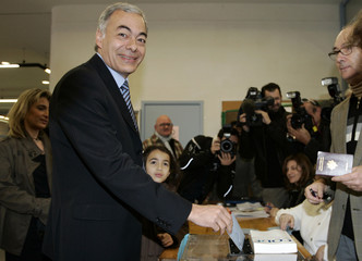 Patrick Allemand, French Socialist party candidate, casts his ballot in the local elections in Nice