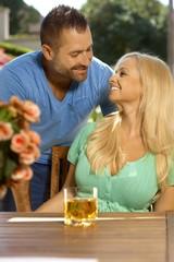 Portrait of romantic married couple