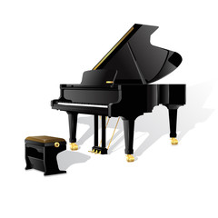 Grand piano. Isolated on white background. Fully editable vector