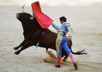 Spanish bullfighter Manzanares performs a pass during the last San Fermin festival bullfight in Pamplona