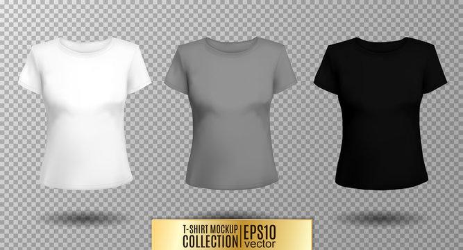 T-shirt template set for men and women, realistic gradient mesh vetor  illustration.