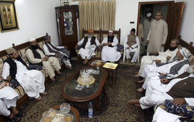 Leaders of opposition Islamic alliance MMA hold a meeting following the imposition of emergency rule in Karachi