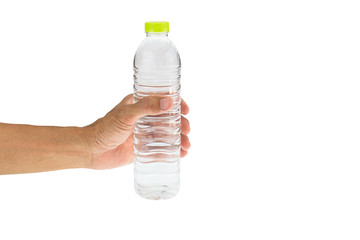 Man's hand holding drinking water bottle isolated on white background