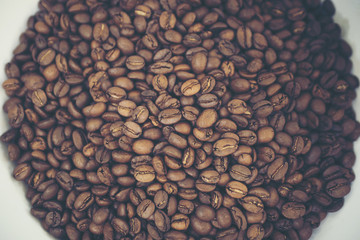 vintage coffee beans, selective focus, vintage filter image