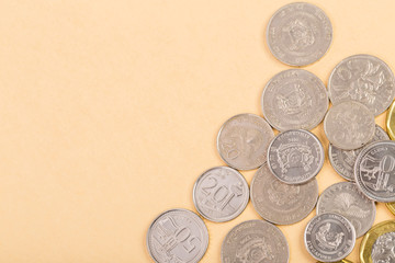 Pile of Singapore coin