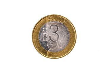 Used commemorative anniversary bimetal 3 euro Slovenia coin 2010.