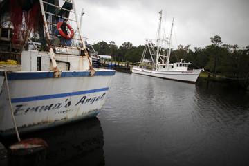 Shrimp boats are seen at the coastal area of Bayou La Batre, Alabama