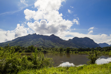 Meadow,lake,mountains on cloudy blue sky background in Phangnga province,South of Thailand
