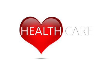 Letter healthcare on red heart on white background, healthcare concept