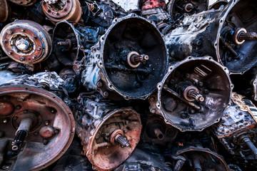 Rust Car Parts in junkyard