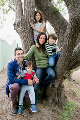 Family sitting on bottom of tree in park
