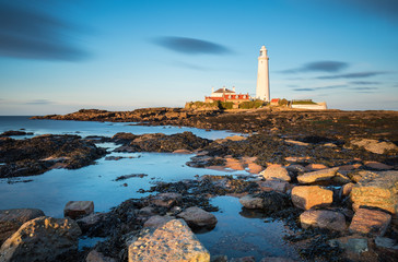 Long Exposure at St Mary's Island / St Mary's Lighthouse on a small rocky Island, just north of Whitley Bay on the North East coast of England. A causeway submerged at high tide links to the mainland