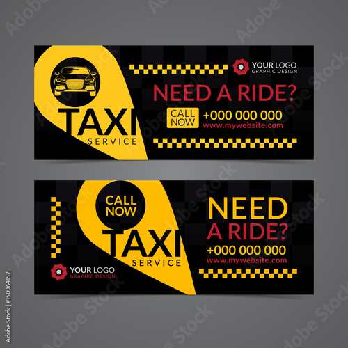 Set Of Taxi Service Business Banner Poster Flyer Taxi Pickup