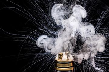 Burning of Electronic cigarette. Popular vaporizing e-cig gadget to vape glycerin e-liquid