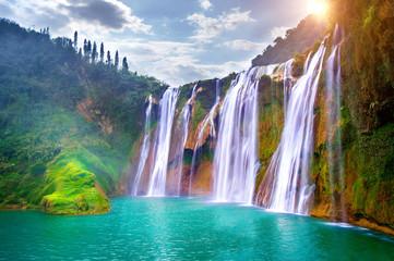Obraz Jiulong waterfall in Luoping, China. - fototapety do salonu