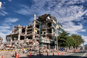 An almost demolished building on the closed area of downtown of Christchurch,  After the earthquake on 22 February 2011.