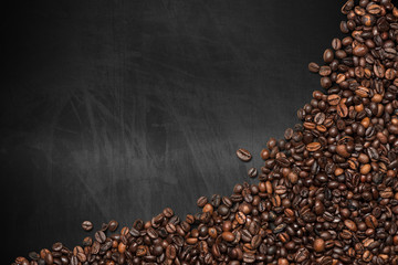 Coffee Beans on an Empty Blackboard